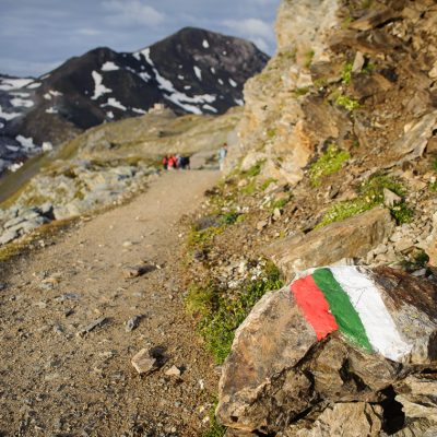 Italienische Grenze am Stilfser Joch Italien Border at Passo dello Stelvio