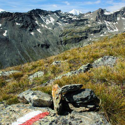 Wanderweg zur Kalvenwand (3061m) mit Blick auf die Königsspitze. Hiking trail towards Kalvenwand (3061m)