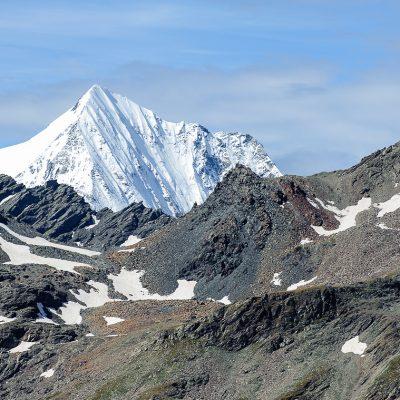 Blick auf die Königsspitze (3851m) von der Kalvenwand (3061m) Gran Zebrù (3851m) seen from Kalvenwand (3061m)